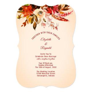 Autumn Splendor Ivory Watercolor Floral Wedding Invitation