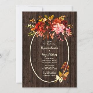 Autumn Splendor Rustic Dried Floral Wedding Invitations