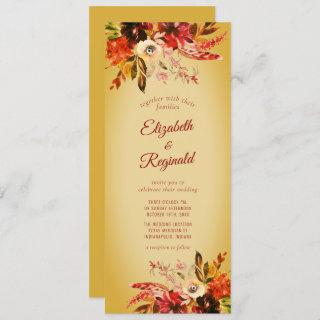 Autumn Splendor Watercolor Floral Gilded Invitation