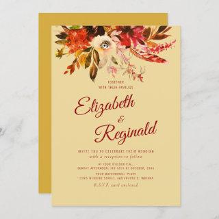 Autumn Splendor Watercolor Floral Golden Wedding Invitations