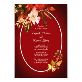 Autumn Splendor Watercolor Floral Red Wedding Invitations