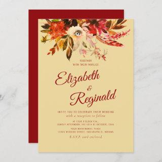 Autumn Splendor Watercolor Floral Red Wedding Invitation