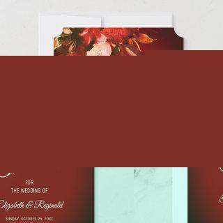 Autumn Splendor Watercolor Floral Red Wedding Save The Date
