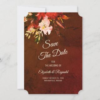 Autumn Splendor Watercolor Floral Wedding Save The Date