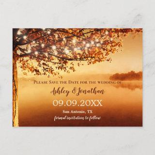 Autumn Tree String Lights Lake View Save the Date Postcard