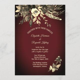 Autumn Watercolor Aged Floral Burgundy Wedding Invitation