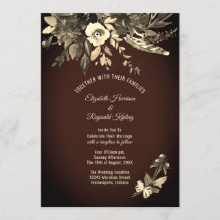 Autumn Watercolor Aged Floral Dark Brown Wedding Invitation