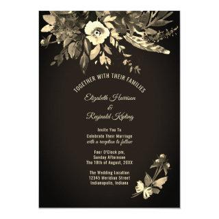 Autumn Watercolor Aged Floral Wedding Invitations