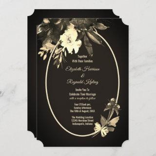 Autumn Watercolor Aged Floral Wedding Invitation