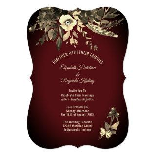 Autumn Watercolor Burgundy Floral Wedding Invitation