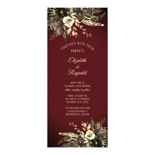 Autumn Watercolor Dried Floral Burgundy Wedding Invitations