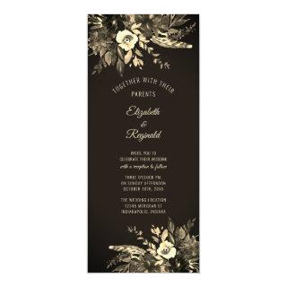 Autumn Watercolor Dried Floral Ebony Wedding Invitations