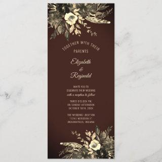 Autumn Watercolor Dried Floral Mocha Brown Wedding Invitations