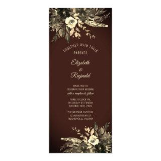 Autumn Watercolor Dried Floral Mocha Brown Wedding Invitation