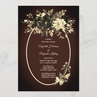 Autumn Watercolor Dried Floral Spray Mocha Wedding Invitation