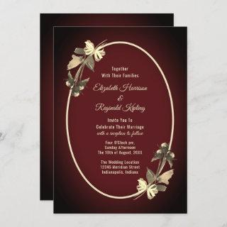 Autumn Watercolor Dried Flowers Burgundy Wedding Invitation