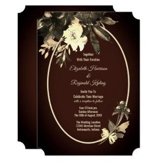 Autumn Watercolor Floral Brown Wedding Invitation