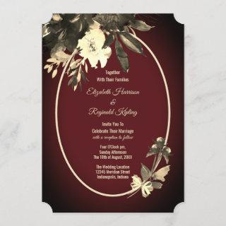 Autumn Watercolor Floral Burgundy Wedding Invitation