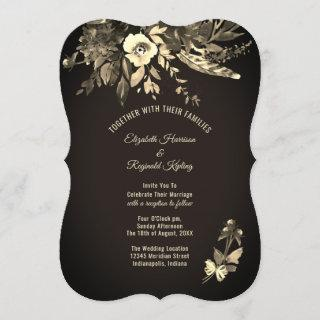Autumn Watercolor Floral Ebony & Ivory Wedding Invitation