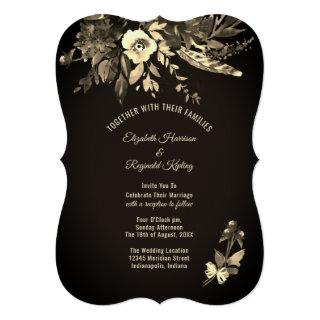 Autumn Watercolor Floral Ebony & Ivory Wedding Invitations