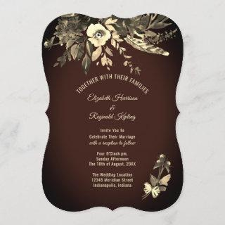 Autumn Watercolor Floral Mocha Brown Wedding Invitation