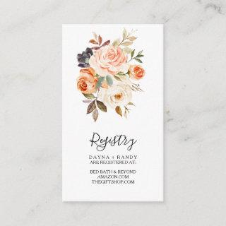 Autumn Yellow Blush Elegant Floral Gift Registry Enclosure Card