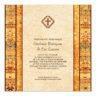 Aztec Fiesta Christian Cross Square Wedding Invitations