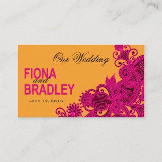 Aztec Paisley Wedding Website fuschia nectarine Enclosure Card