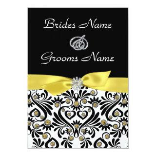 B & W Damask with Yellow Wedding Invitations