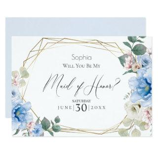 Baby Blue Flowers Will You Be My Maid of Honor Invitation