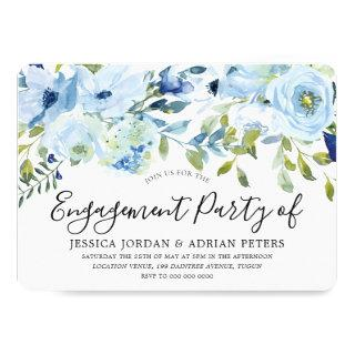Baby Blue Watercolor Flowers Engagement Party Invitations
