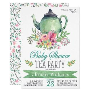 Baby Boy Baby Shower Tea Party Floral Watercolor Invitations