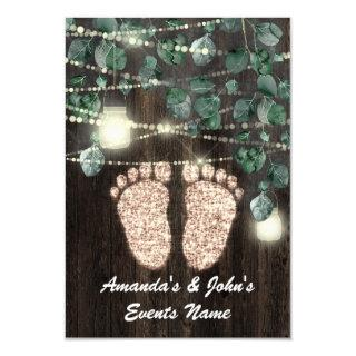 Baby SHOWER Feet  Rustic Green Wood Rose GOLD Invitations