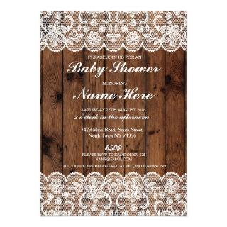 Baby Shower Party Rustic Wood Lace Boy Girl Invite