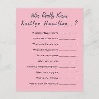 Baby Shower Question Game New Mother Humor