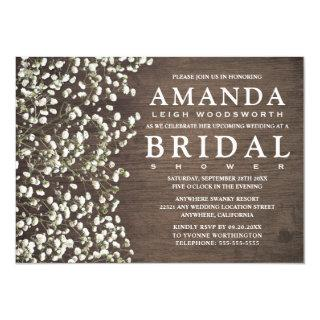 Baby's Breath Barn Wood Bridal Shower Invitations