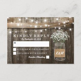 Baby's Breath Barrel Country Rustic Wedding RSVP