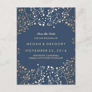 baby's breath gold and navy save the date announcement postcard