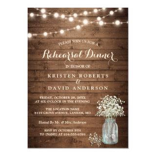 Baby's Breath Jar String Lights Rehearsal Dinner Invitations