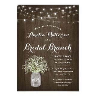 Babys Breath Mason Jar Rustic Bridal Brunch Shower Invitation