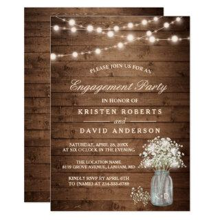 Baby's Breath Mason Jar Rustic Engagement Party Invitations