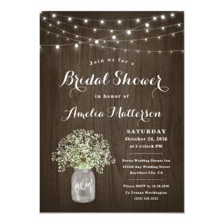 Babys Breath Mason Jar Rustic Unique Bridal Shower Invitation