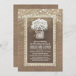 Baby's Breath Mason Jar Rustic Wedding Anniversary Invitations