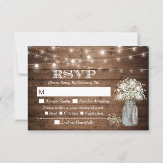 Baby's Breath Mason Jar String Lights Meal RSVP