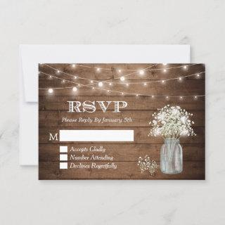 Baby's Breath Mason Jar String Lights Wedding RSVP