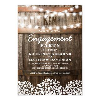 Baby's Breath Rustic Charm Engagement Party Invitation