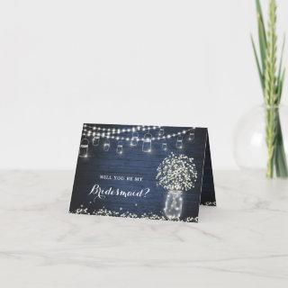 Baby's Breath Rustic Will You Be Bridesmaid Card