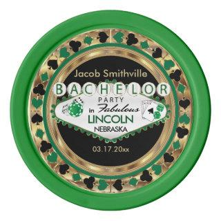 Bachelor Party Green Poker Chips Invitations