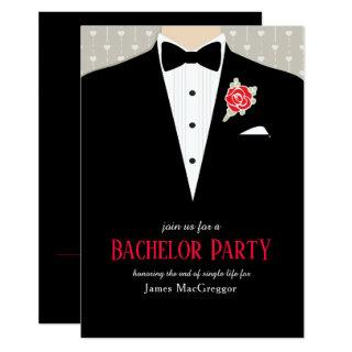 Bachelor party tuxedo red rose invitation