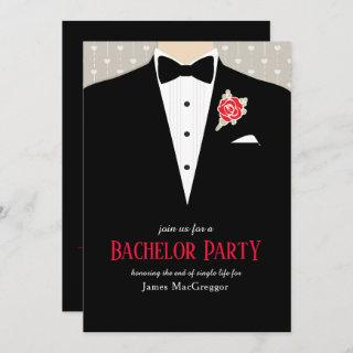 Bachelor party tuxedo red rose Invitations
